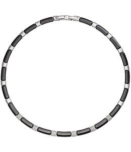 Aurora Patina Stainless steel necklace black ceramic and zirconia
