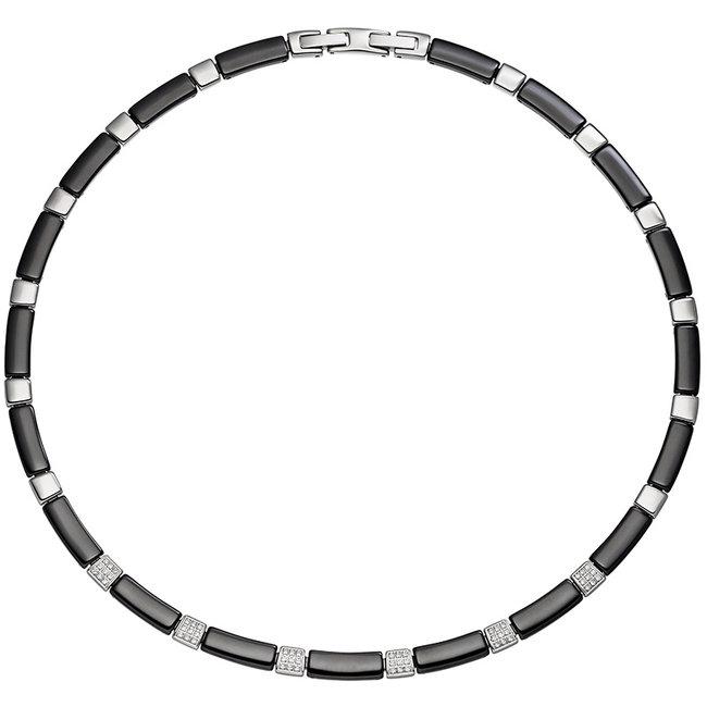 Edelstaal halsketting van zwart keramiek en zirkonia 47 cm