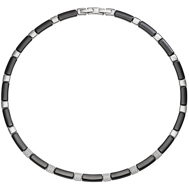 Stainless steel necklace in black ceramic and zirconia 47 cm