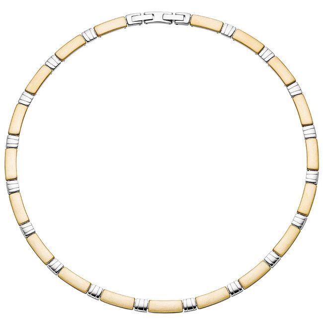 Edelstaal halsketting deels gematteerd met geelgouden PVD-coating