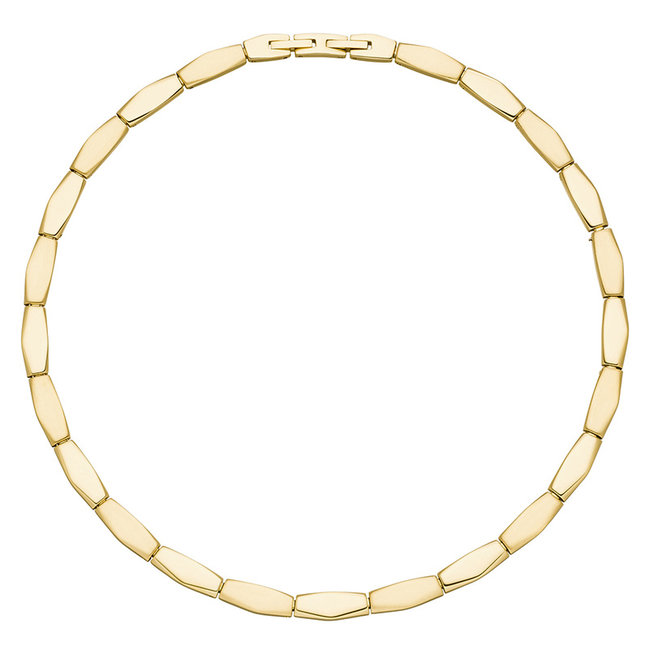 Stainless steel necklace partly matted with yellow gold PVD coating