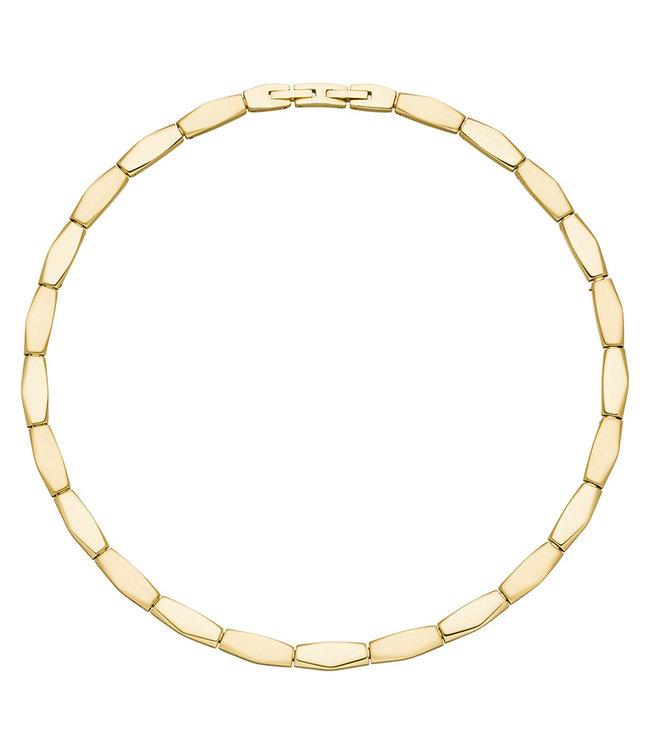 Aurora Patina Edelstaal halsketting deels gematteerd met geelgouden PVD-coating