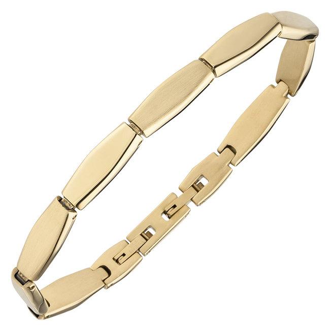 Edelstaal armband deels gematteerd met geelgouden PVD-coating