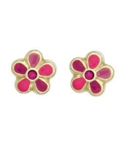 Aurora Patina Kids earrings studs Pink Flower gold