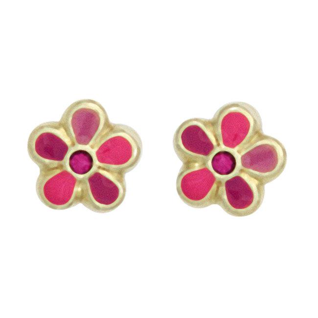 Kids earrings studs Pink Flower 333 Gold