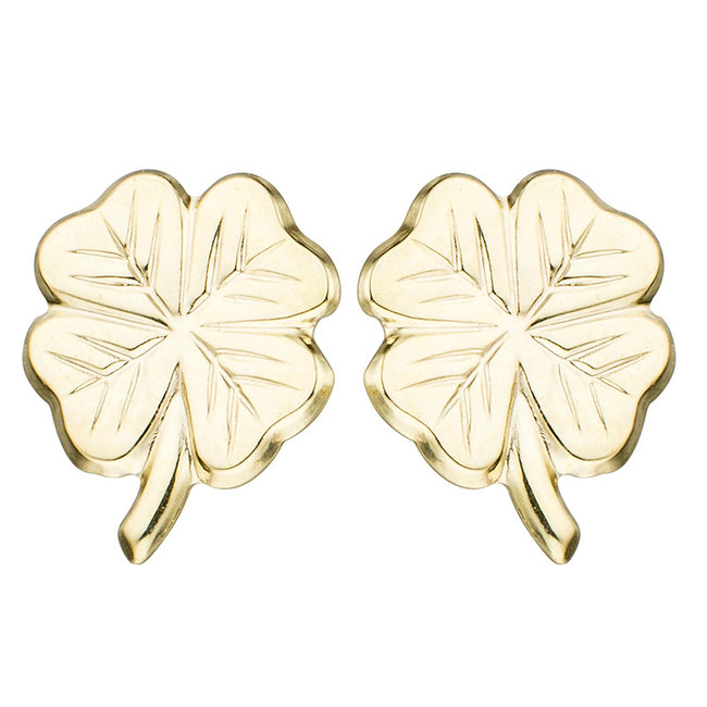 Golden ear studs lucky-four-leaf clover kids