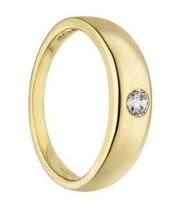 Aurora Patina Gold christening ring 8 carat with zirconia