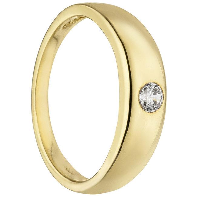 Aurora Patina Gold christening ring 8 carat with zirconia