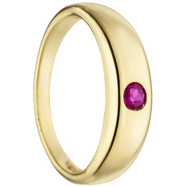 Aurora Patina Gold Taufring 8 Karat mit Rubin