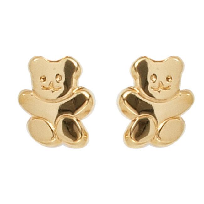 Golden ear studs Teddy bear kids