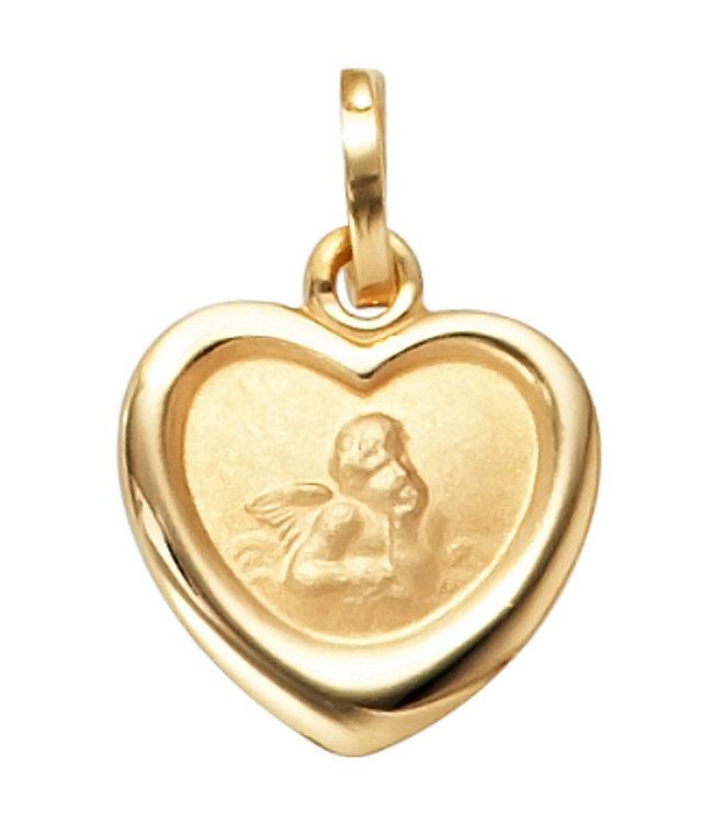 Aurora Patina Gouden hanger beschermengel voor kinderen 8 karaat