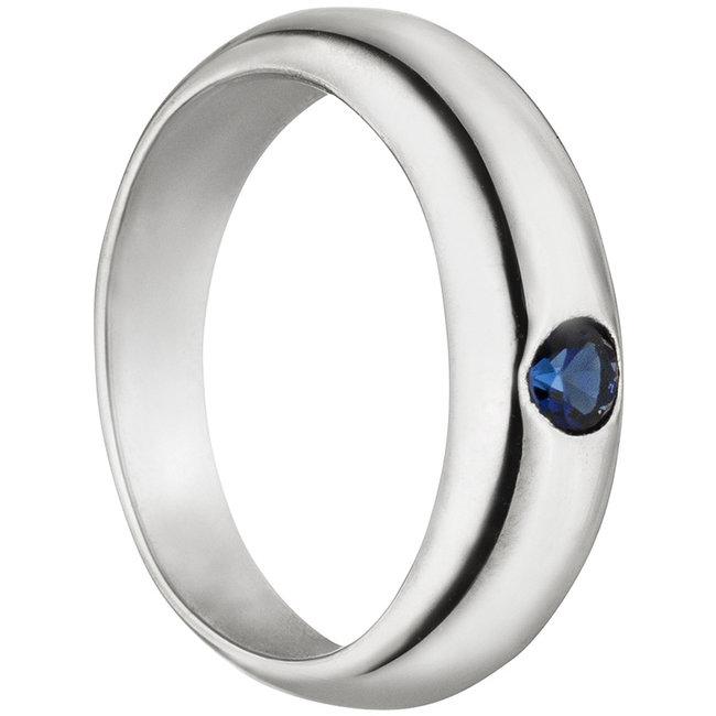 Aurora Patina White gold christening ring 8 carat with saffire