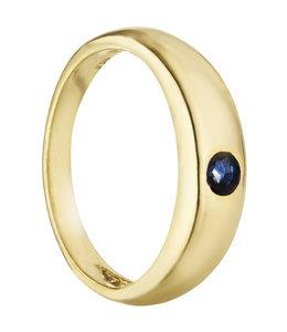 Aurora Patina Gold Taufring 8 Karat mit Safir
