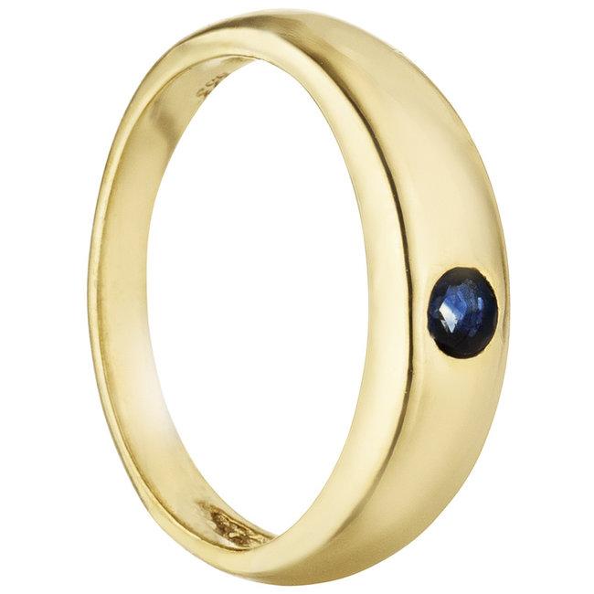 Aurora Patina Gold christening ring 8 carat with saffire