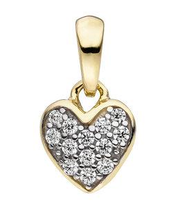Aurora Patina Golden pendant Heart with zirconia