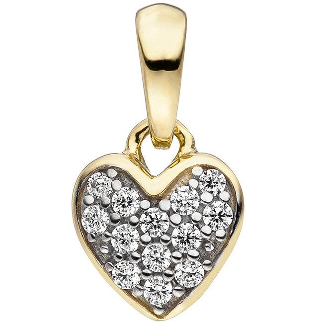Golden pendant Heart with zirconia 8 carat