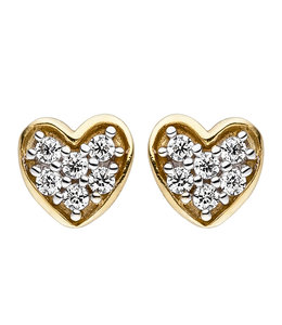 Aurora Patina Gold stud earrings heart with zirconia
