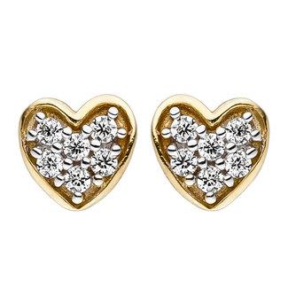 Aurora Patina Gold stud earrings heart with zirconia