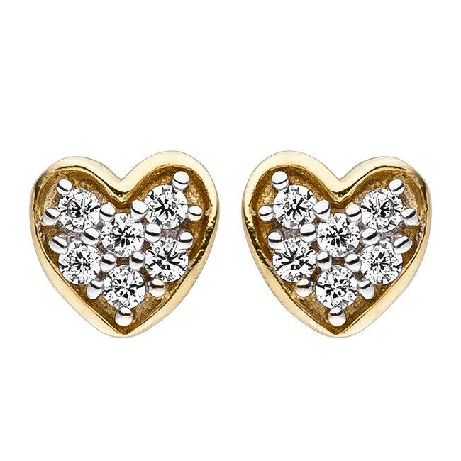 Gold stud earrings heart with zirconia 8 carat