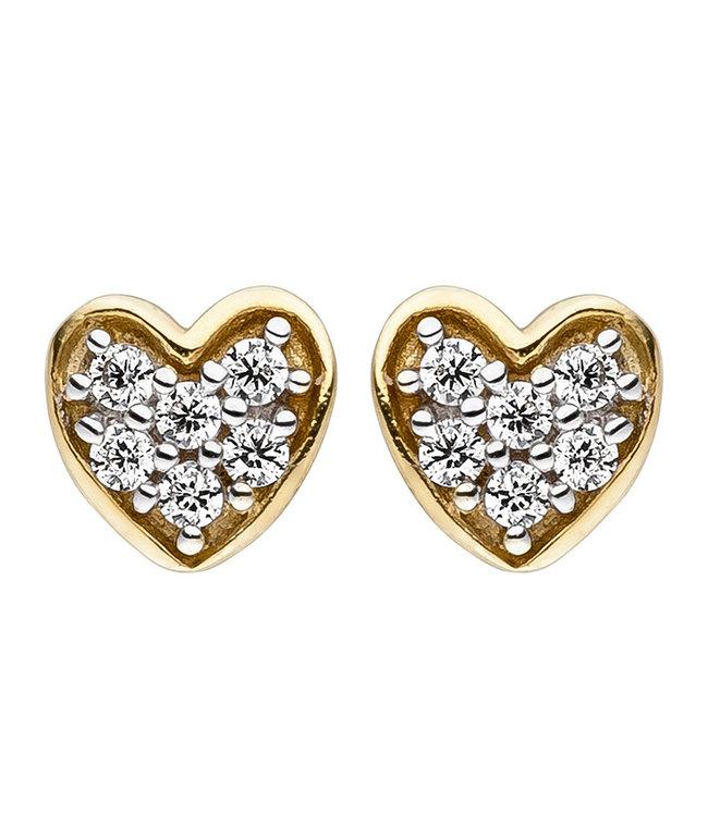 Aurora Patina Gold stud earrings heart with zirconia 8 carat