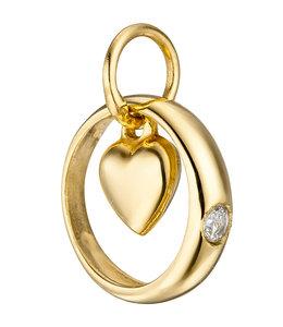 Aurora Patina Gouden Doopring Hart met zirkonia