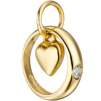 Aurora Patina Gold Taufring Herzten mit Zirkonia