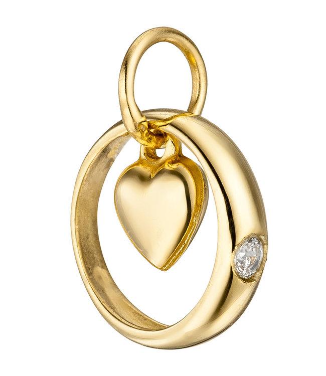 Aurora Patina Gold christening Heart with zirconia 8 carat (333)