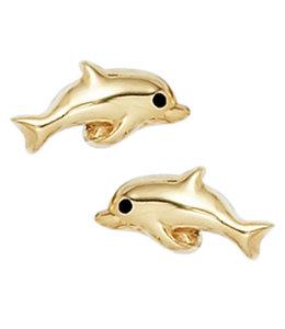 Aurora Patina Golden earstuds Dolphins 8 carat