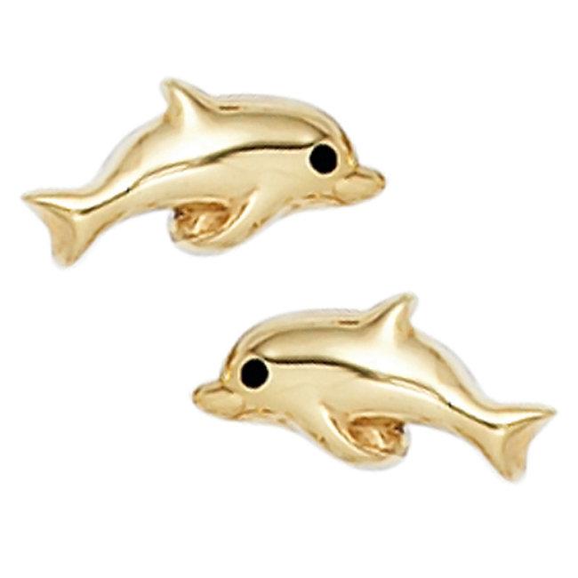 Gouden oorstekers Dolfijnen 8 karaat