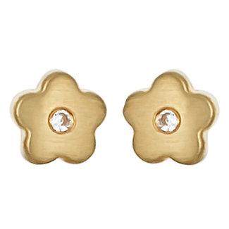 Aurora Patina Gouden oorstekers Bloemetjes zirkonia