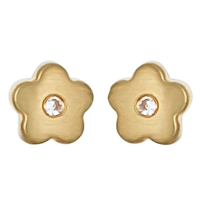 Gouden oorstekers Bloemetjes met zirkonia