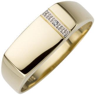 Aurora Patina Gouden heren ring met briljant 14 kt.