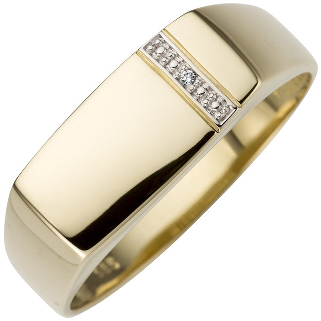 Golden ring 14 ct. (585) with brilliant cut diamond for men