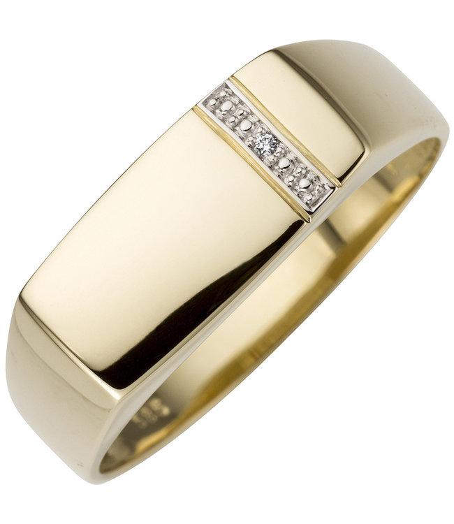 Aurora Patina Gouden heren ring 14 kt. (585) met briljant