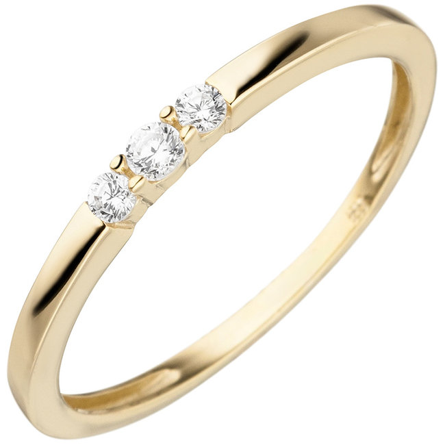 Gold ring with 3 zirconias 8 carat (333)