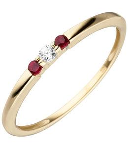 Aurora Patina Gouden ring met robijn en zirkonia