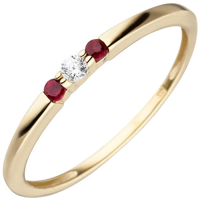 Gouden ring met robijn en zirkonia 8 karaat (333)