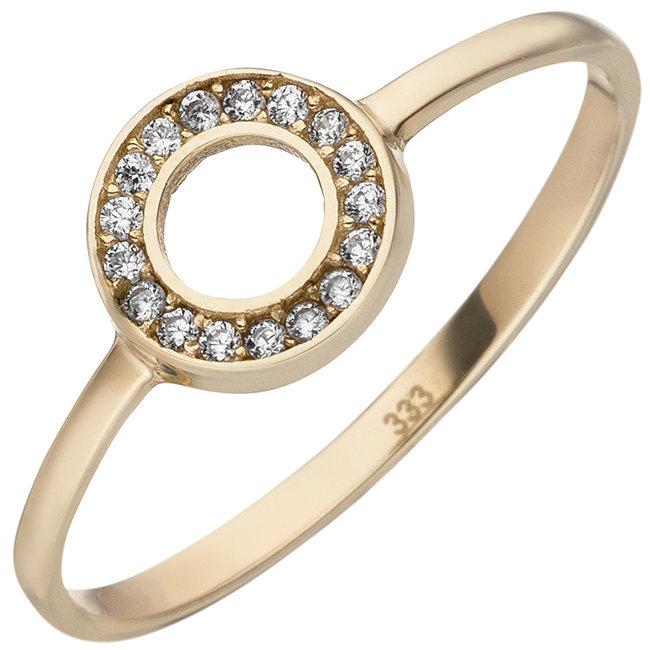 Gouden ring met 17 zirkonia's 8 karaat (333)