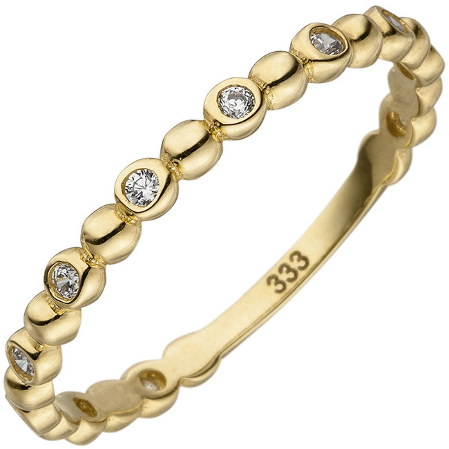 Aurora Patina Gold ring with 11 zirconias