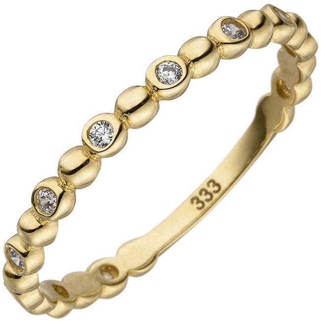 Aurora Patina Gouden ring met 11 zirkonia's