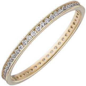 Aurora Patina Gold ring with zirconia all round