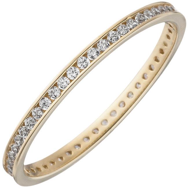 Aurora Patina Gouden ring met zirkonia's rondom