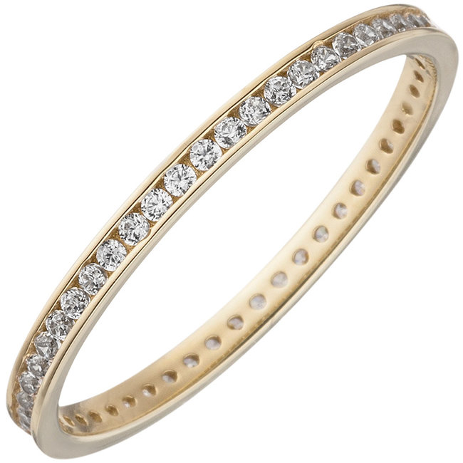 Gold ring with zirconia all round 8 carat (333)