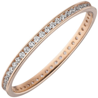 Aurora Patina Red gold ring with zirconia all round