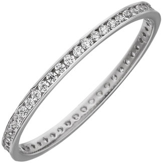 Aurora Patina White gold ring with zirconia all round