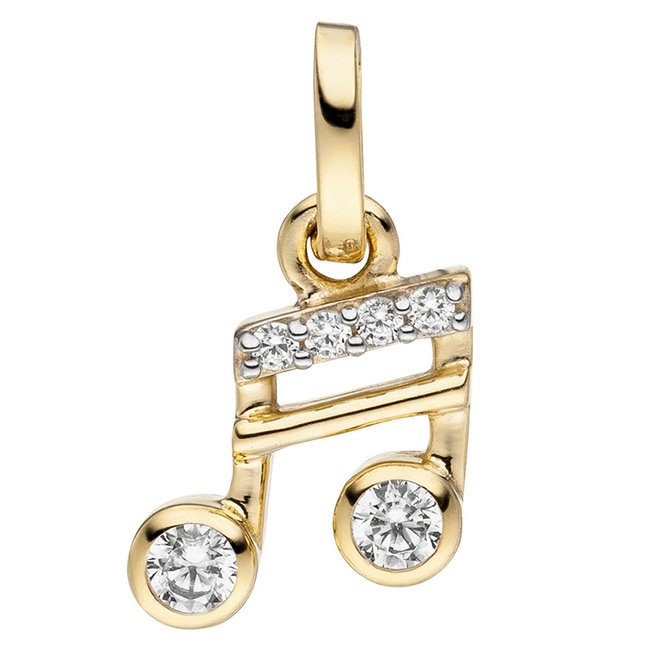 Golden pendant (333) with zirconia Musical notes