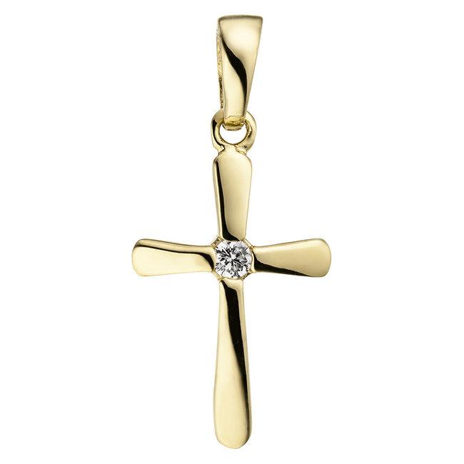 Aurora Patina Gouden hanger kruis zirkonia