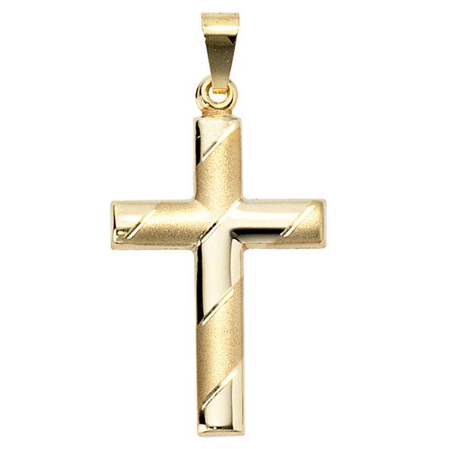 Gouden kruis hanger deels gematteerd 8 karaat