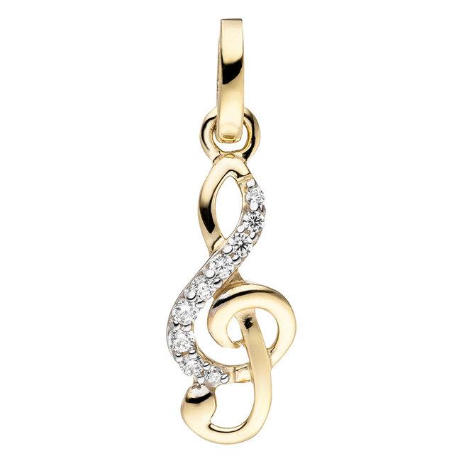 Golden pendant (333) with zirconia Clef