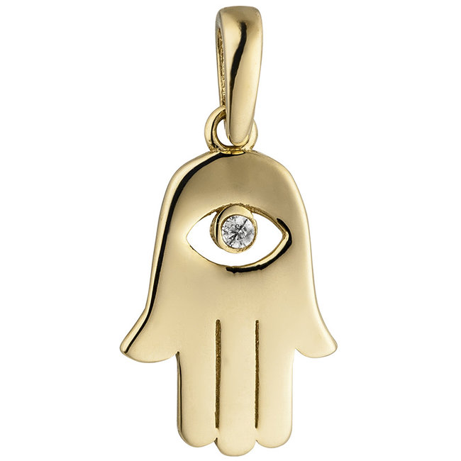 Golden pendant (333) with zirconia Khamsa